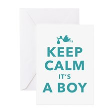 Keep Calm Its A Boy Greeting Cards for