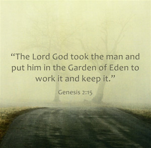 """Genesis 2:15 """"The Lord God took the man and put him in the Garden of ..."""