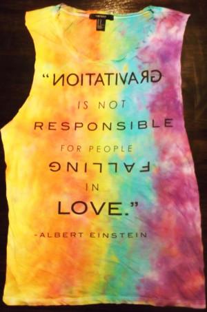 Rainbow Tie Dye Einstein Quote Muscle Shirt