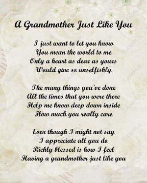 Love Grandma Poems Grandmother poem love poem