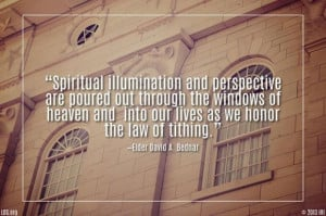 Quote from David A. Bednar, LDS General Conference, October 5, 2013.