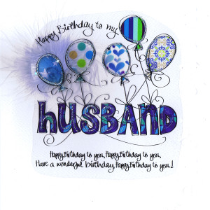 Card - Relation - Happy Birthday to my Husband Blue Balloons