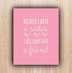 Sisters Quote, INSTANT download, pink, Nursery, sisters, Printable Art ...