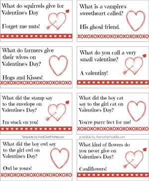 Free Printable:: Valentine Lunch Box Jokes