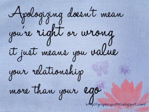 Saying sorry doesn't mean you are right or wrong. Sometimes you have ...