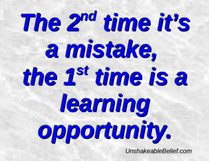 ... Mistakes And The First Time Is A Learning Opportunity Quote On Blue
