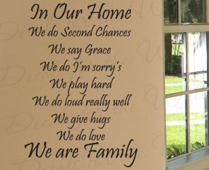 We Do Second Chances Love Family Wall Decal Quote