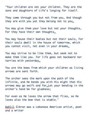 Kahlil Gibran Quotes Children