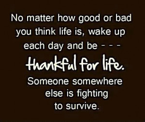 Quote Be thankful for life
