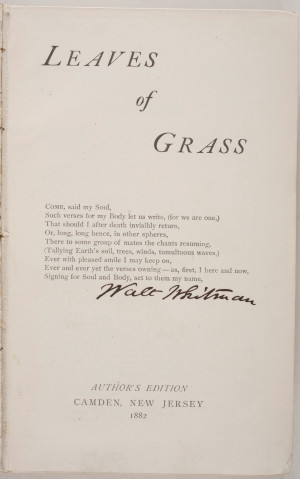 title page with author s signature walt whitman leaves of grass author ...