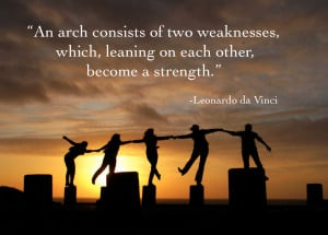 two weaknesses which leaning on each other become a strength