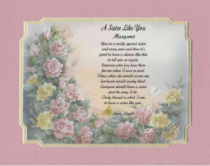 ... Poem For Sister or Sister In Law- Gift for Birthday or Mother's Day
