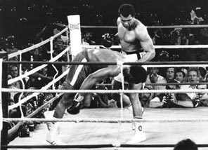 Muhammed Ali watches George Foreman head for the canvas after being ...