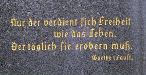 Goethe Schiller statue in the German Cultural Garden in Cleveland Ohio