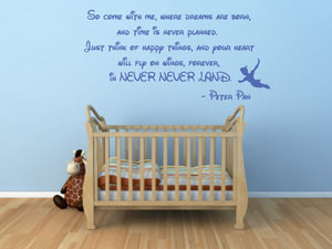 Details about PETER PAN QUOTE WALL STICKER WORDS NURSERY BEDROOM DECAL ...