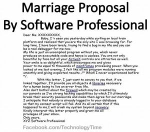 Funny! Marriage Proposal by Software Professional