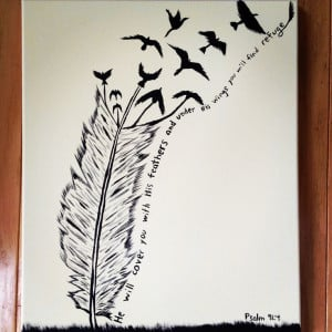 Feather bible verse painting. ohmygoodness I simply must do this.