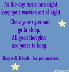 Sleep well quote via Comeback Power at www.Facebook.com/CancerDuckIt ...