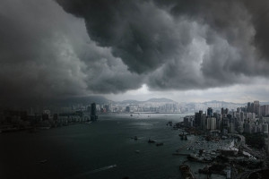 It could be a scene from a Hollywood movie: thick black clouds roll ...