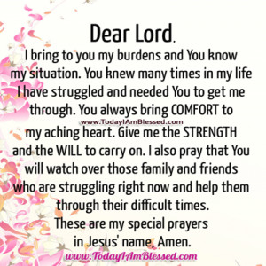 These are my special prayers in Jesus' name, Amen.