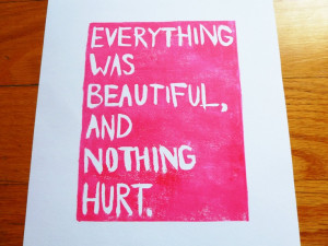 LINOCUT PRINT - Quote, Kurt Vonnegut - Everything Was Beautiful And ...
