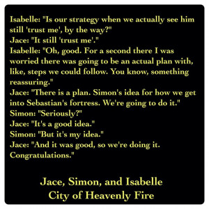 Jace Lightwood, Simon Lewis, and Isabelle Lightwood (City of Heavenly ...