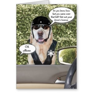 Customizable Funny Dog Motorcycle Cop Birthday Greeting Card