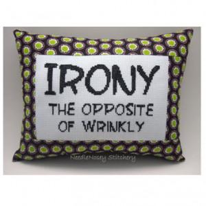 Funny Cross Stitch Pillow, Cross Stitch Quote, Black Pink and Green ...