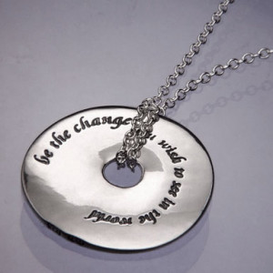 ... Jewelry Home | Inspirational Jewelry | Be The Change Gandhi Quote