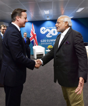 uk prime minister david cameron met indian pm narendra modi in