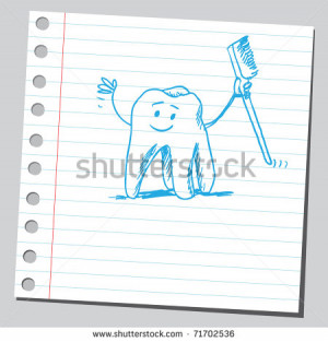 ... illustration of a funny tooth holding toothbrush - stock vector