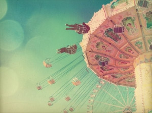 carnival, chairs, circus, fun, merry go round, pink, rides, sky, spin