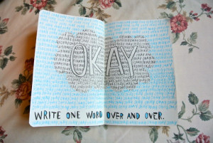 ... green the fault in our stars okay tfios write one word over and over