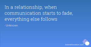 In a relationship, when communication starts to fade, everything else ...