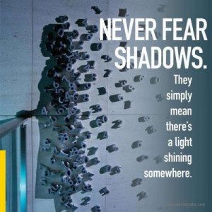 Fear is only as deep as the mind allows...Never fear shadows, they ...