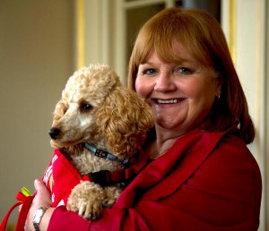Lesley Nicol with dog, 'Patmore'