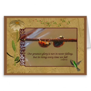 Ladybugs Perseverance Quote Inspirational Card