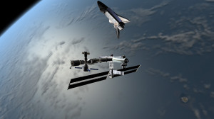Iss Seen From Space Shuttle
