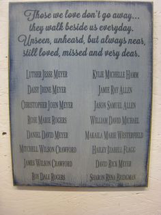 great memorial sign for weddings, family reunions or as a wall hanging ...