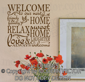 ... to our Nest LOVE AND LAUGHTER home sweet home Quote Vinyl Wall Decal