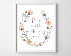 It is well with my soul, typography print, scripture art, prints and ...