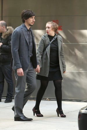 Lena Dunham and Adam Driver film a funeral scene for 'Girls' in New ...