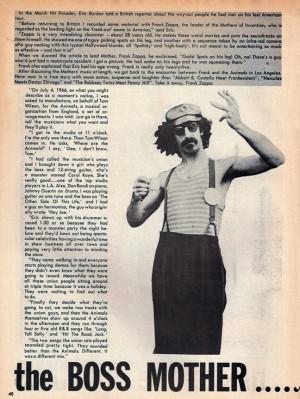 Frank Zappa, July 1967 Hit Parader magazine, chronicling his hiring by ...