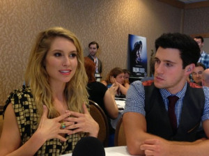 Sarah Carter and Drew Roy in the 'Falling Skies' press room at Comic ...