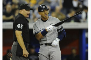 The Yankees' Alex Rodriguez argues a call with umpire Jeff Nelson at ...