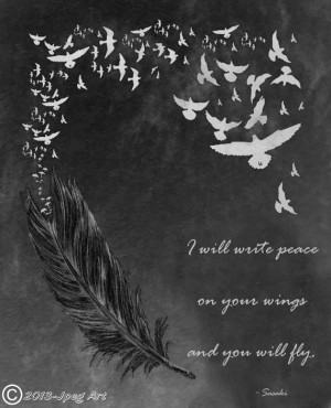 feather and birds artwork with quote by jpegart on etsy $ 1 99
