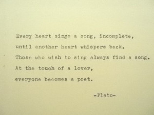 PLATO Love Poem Plato Hand Typed Typewriter Quote Typed with Vintage ...