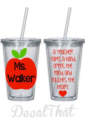 teacher appreciation tumbler with apple and quote by decalthat $ 12 00