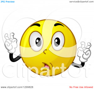 Clipart of a Cartoon Yellow Smiley Face Emoticon Doing Air Quotes ...