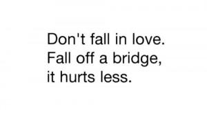 Don't fall in love, fall off a bridge, it hurts less | FOLLOW BEST ...